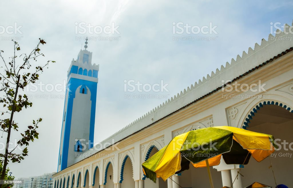 Seven men Mosque fnideq moroccco stock photo