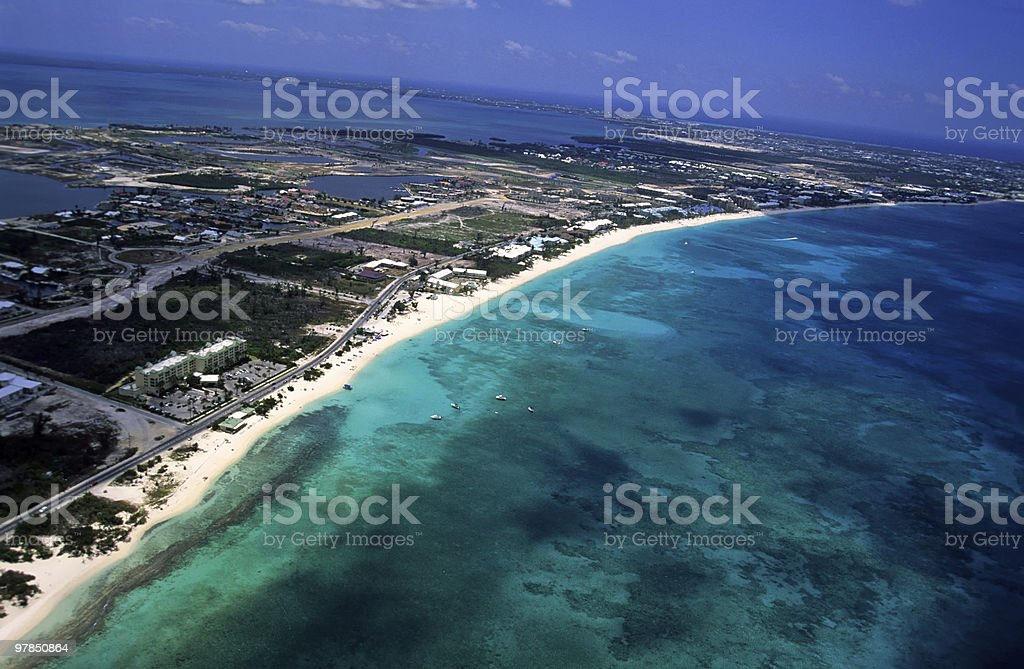 Seven Mile Beach at Grand Cayman stock photo