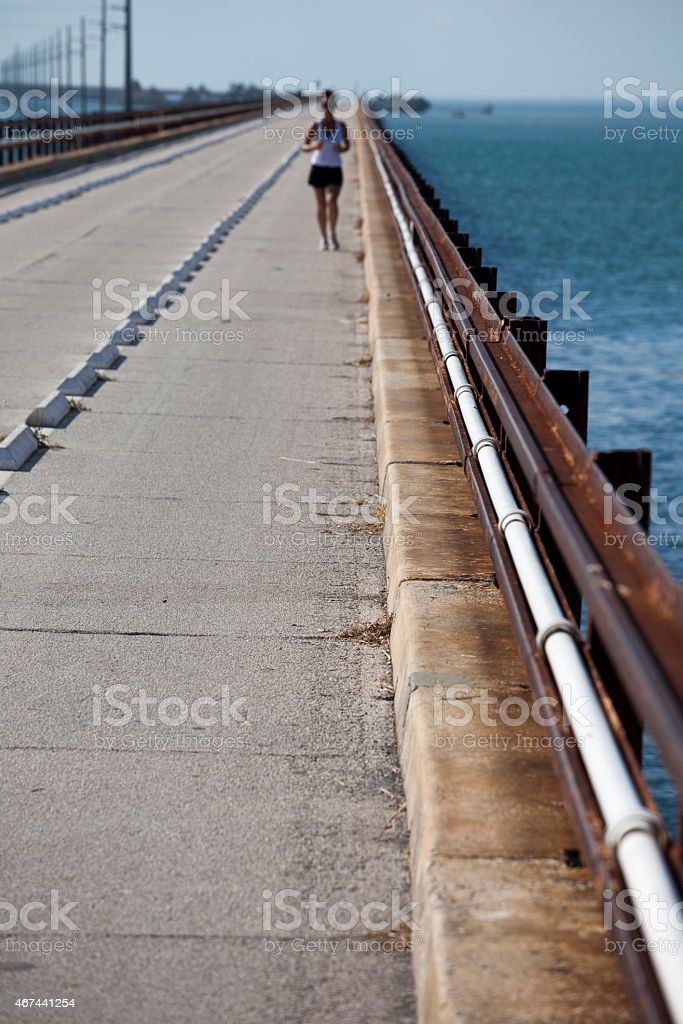 Seven Mile Bridge and Jogger stock photo