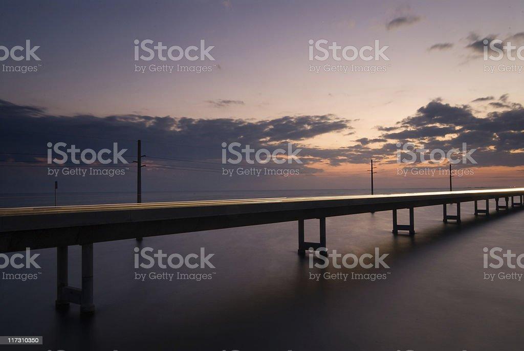 Seven mile Bridge at night royalty-free stock photo