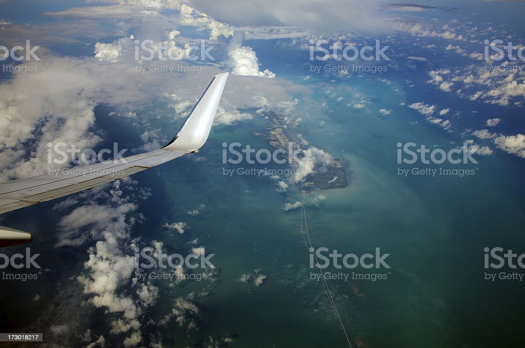Seven Mile bridge from high above stock photo