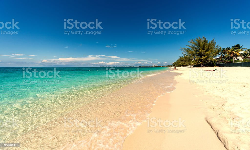 Seven miles beach on Grand Cayman stock photo