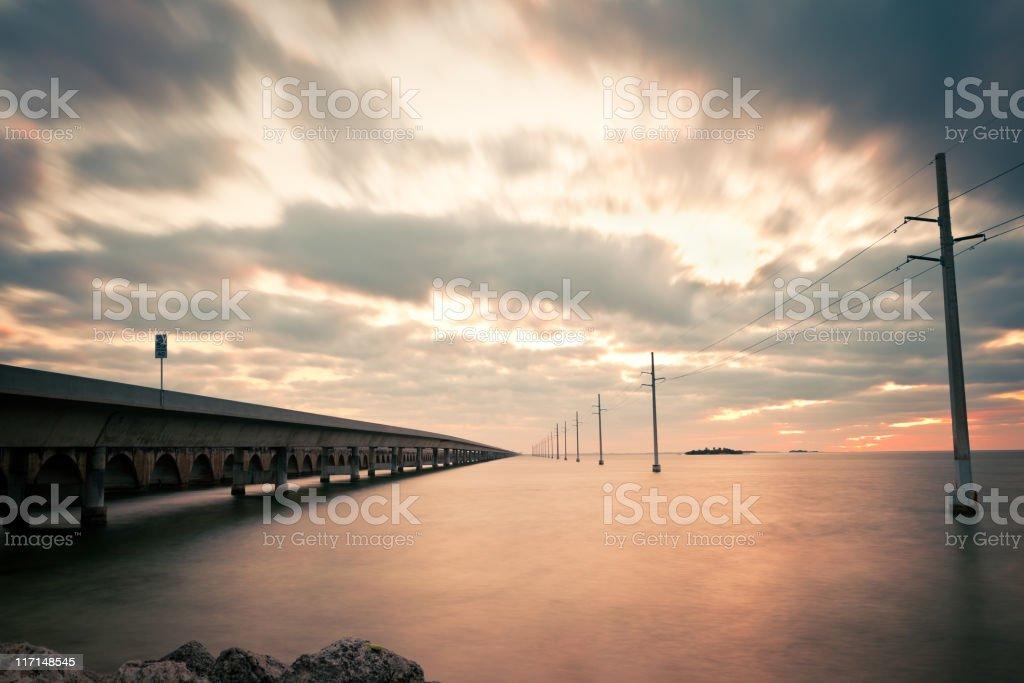 Seven Miles Bridge at Sunrise stock photo