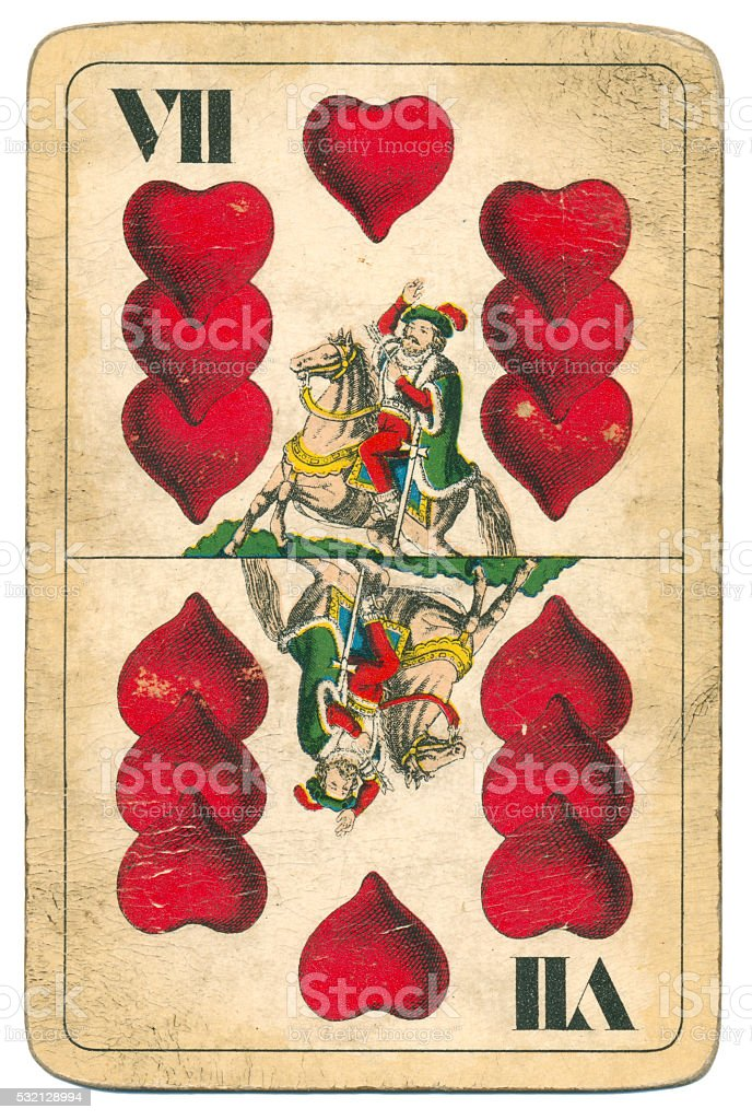 Seven of Hearts playing card William Tell Hungary 1890 stock photo
