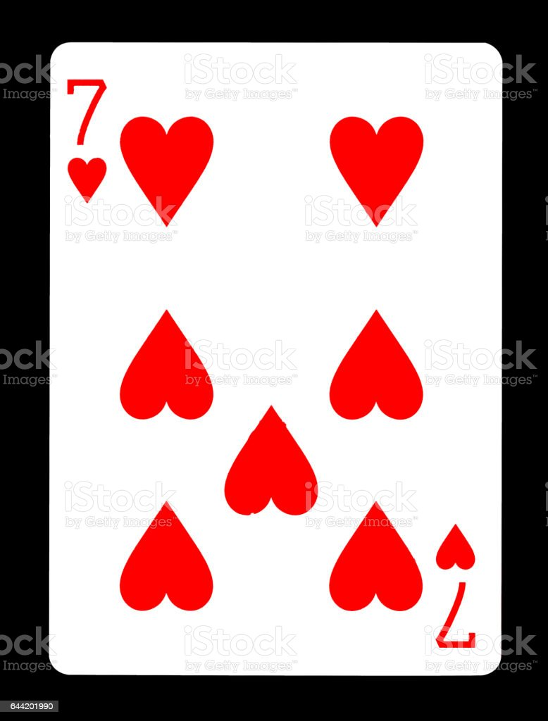 Seven of Hearts playing card, isolated on black background. stock photo
