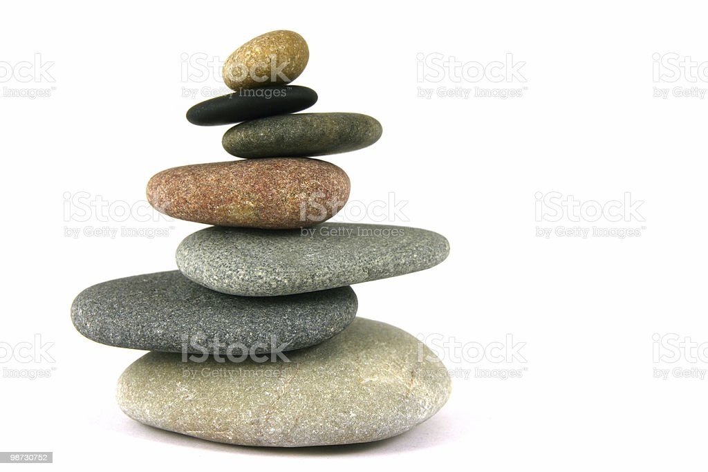 Seven pebbles pyramid stock photo