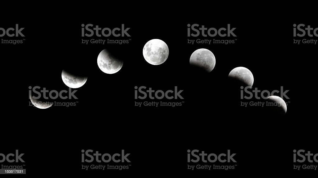 seven phases lunar eclipse stock photo