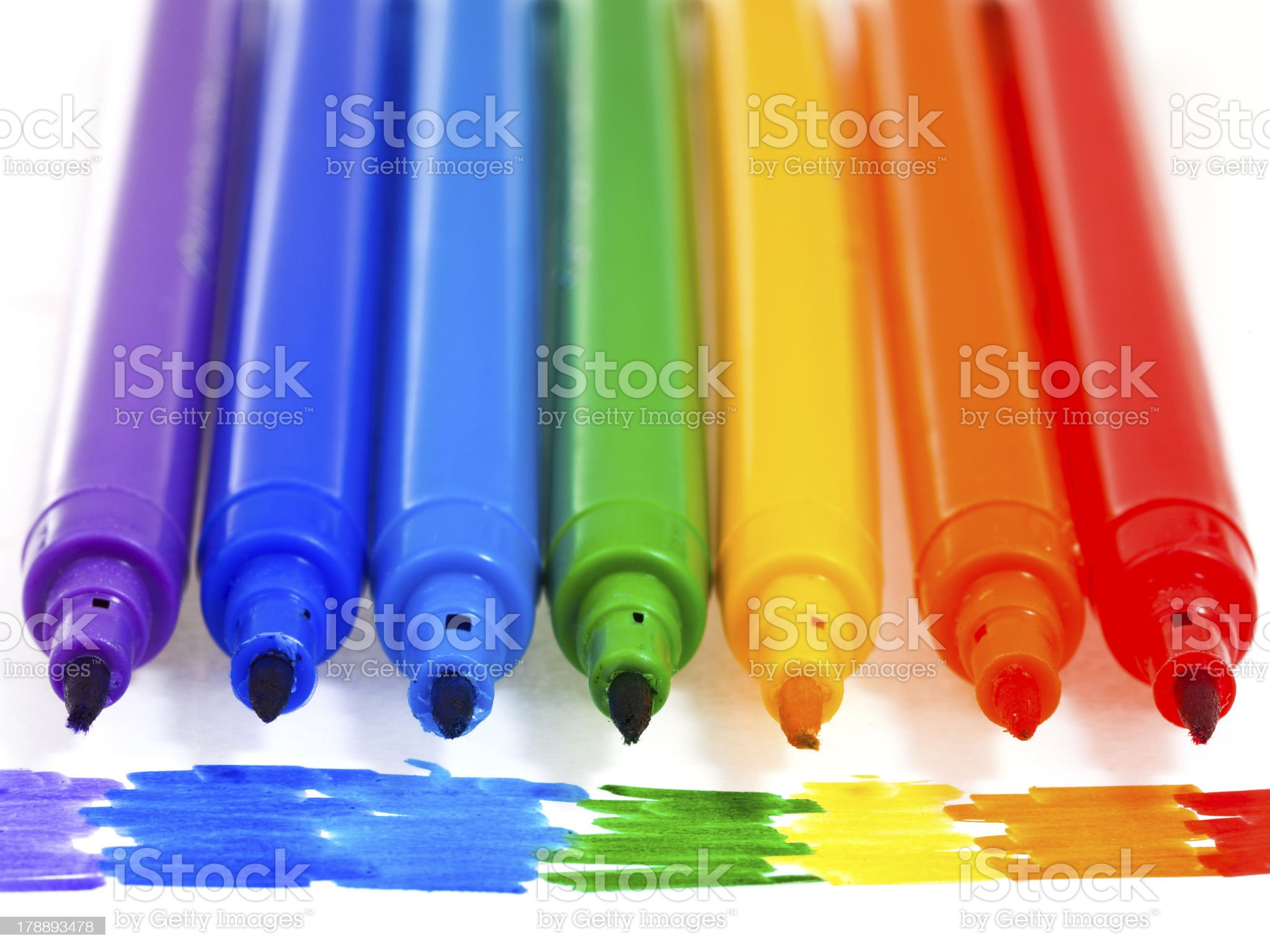 seven rainbow colored felt pens royalty-free stock photo