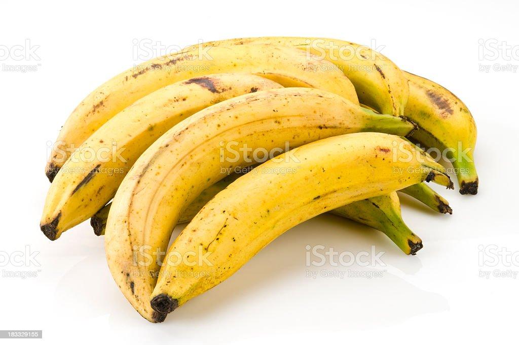 Seven ripe bananas ready to eat stock photo