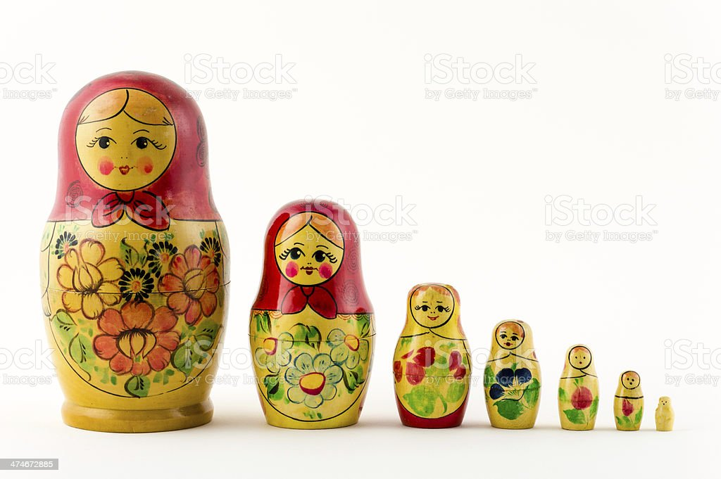 Seven Russian Nesting Dolls stock photo
