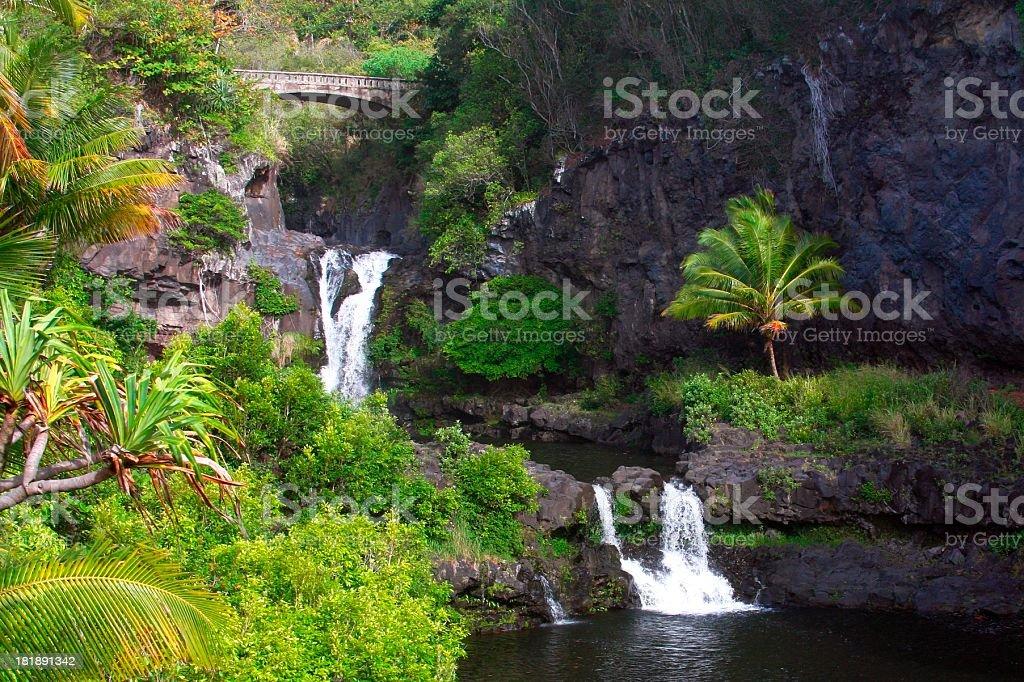 Seven Sacred pools waterfall in Hana Maui Hawaii stock photo
