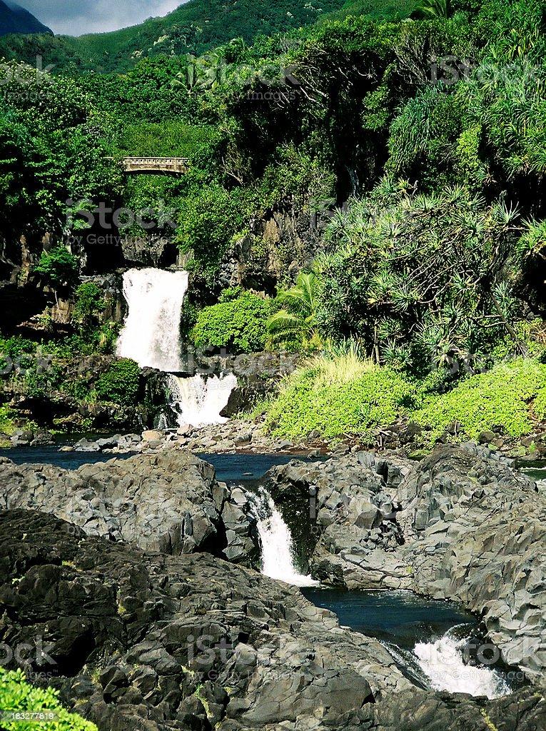 Seven Sacred pools waterfall in Hana Maui Hawaii royalty-free stock photo