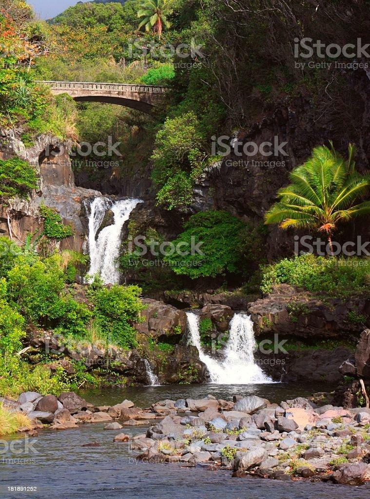 Seven Sacred pools waterfall on Maui Hawaii royalty-free stock photo