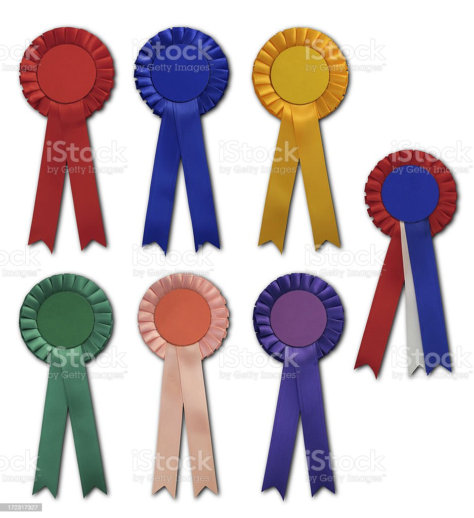 Seven Satin Ribbon Rosettes stock photo
