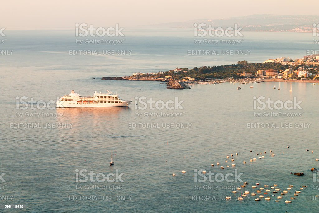 Seven Seas Navigator in Taormina, Sicily stock photo