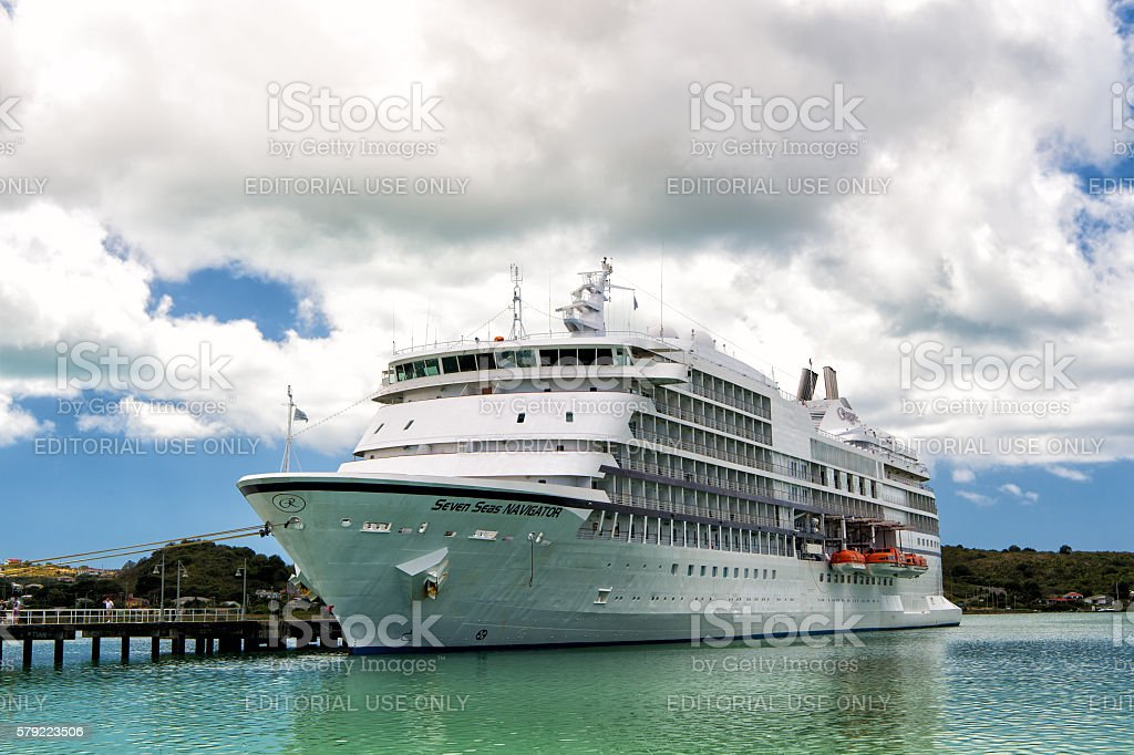 Seven Seas Navigator luxury cruise ship stock photo