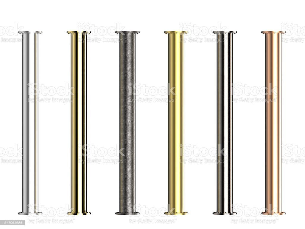 seven shades of metal pipes stock photo