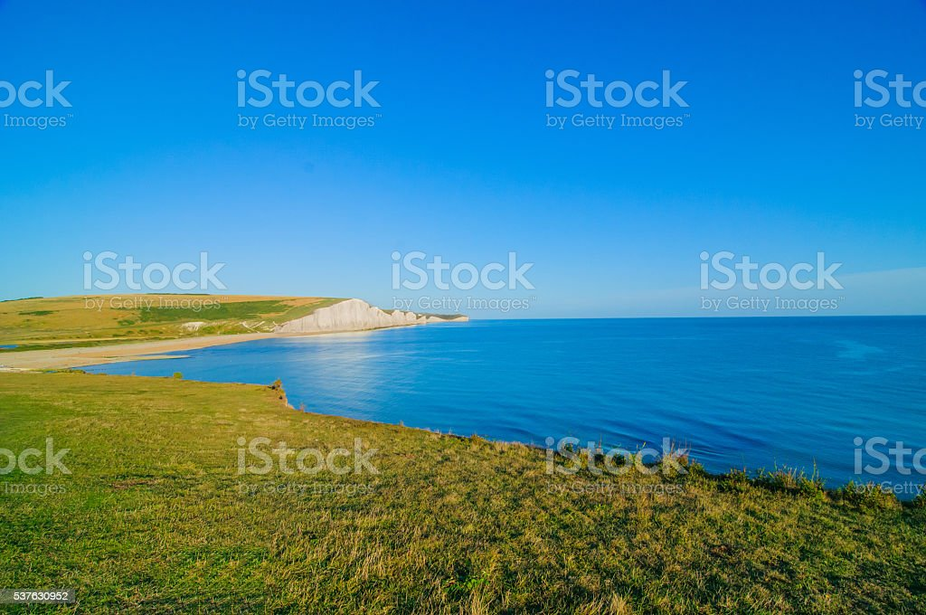 Seven sisters chalk cliff in England stock photo