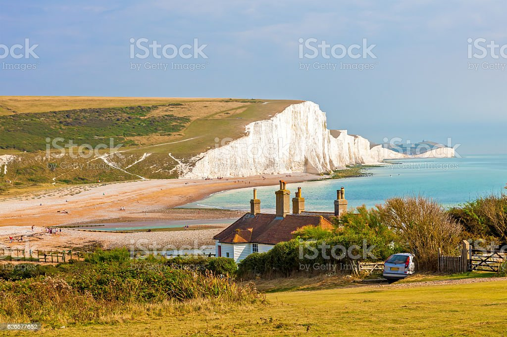 Seven Sisters Chalk cliffs from Seaford Head stock photo