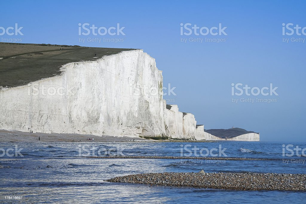 seven sisters chalk cliffs pebble beach uk royalty-free stock photo