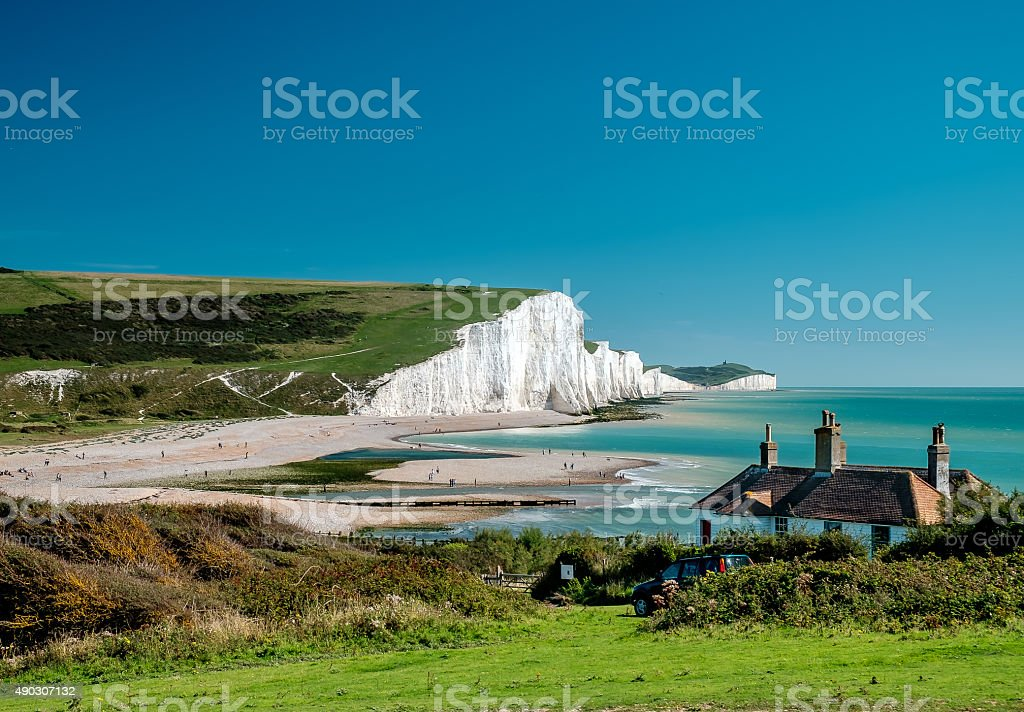 Seven Sisters cliffs at Sussex stock photo