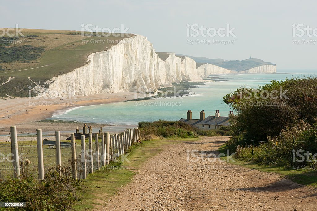 Seven Sisters Cliffs in East Sussex, England stock photo