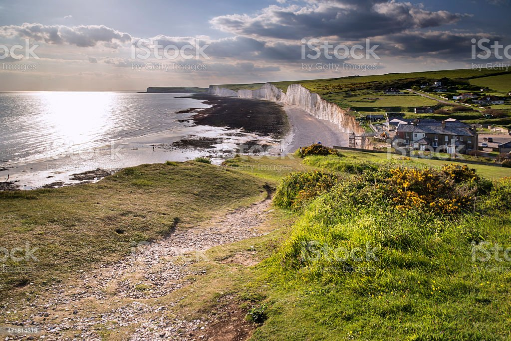 Seven Sisters from Birling Gap Summer evening landscape stock photo