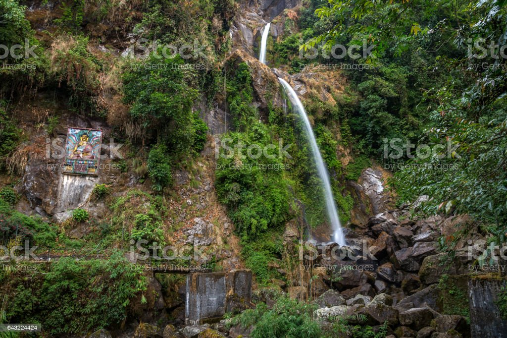 Seven sisters waterfall in the mountains of North Sikkim, India. stock photo