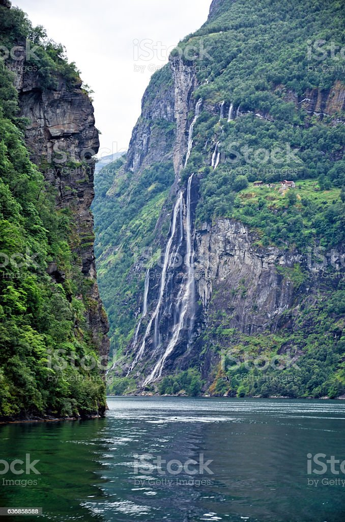 Seven Sisters Waterfall, Norway stock photo