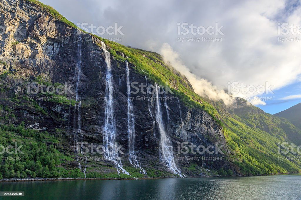 Seven Sisters Waterfalls at the Geirangerfjord in the Morning stock photo