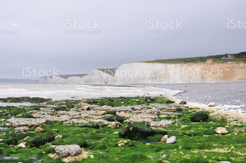 Seven Sisters White Chalk Cliffs at Birling Gap Beach stock photo