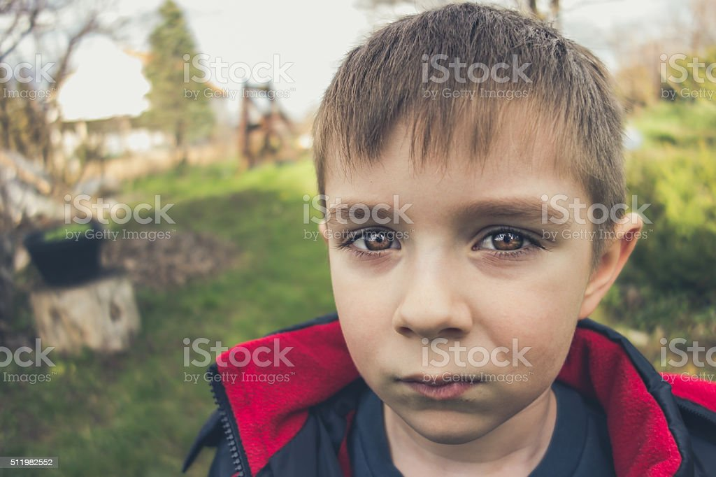 Seven year old boy's portrait in nature stock photo