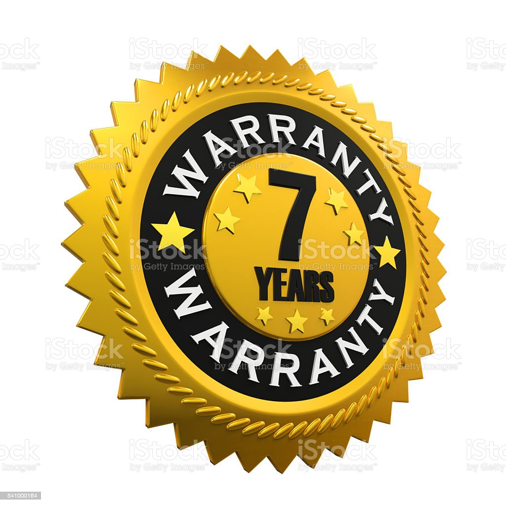 Seven Years Warranty Sign stock photo