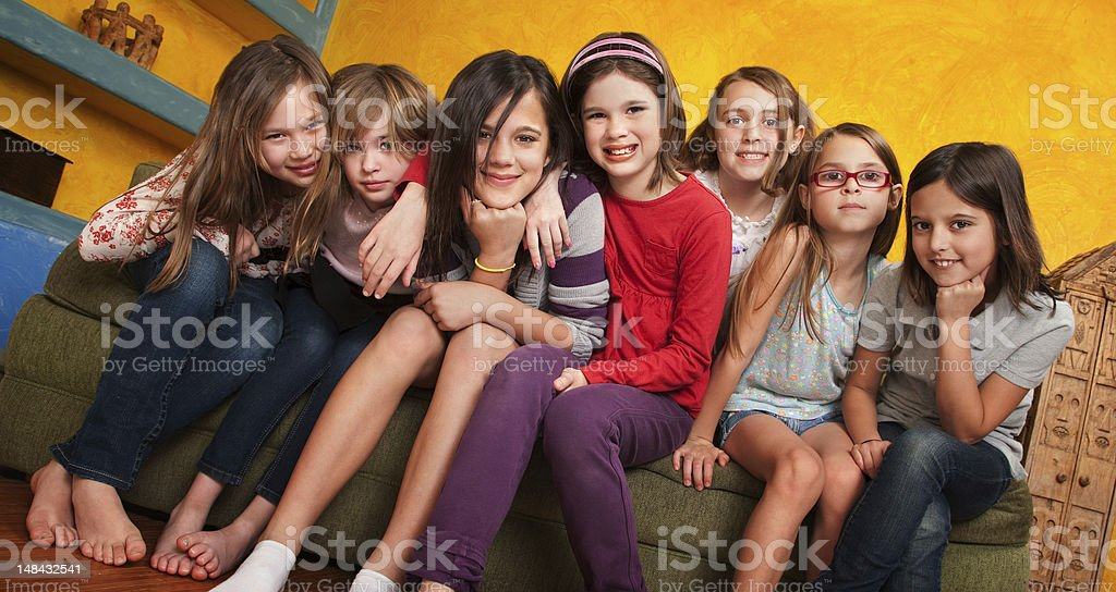 Seven Young Girls stock photo