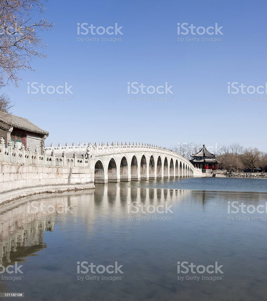 Seventeen arch bridge in the Summer Palace of Beijing, China. royalty-free stock photo