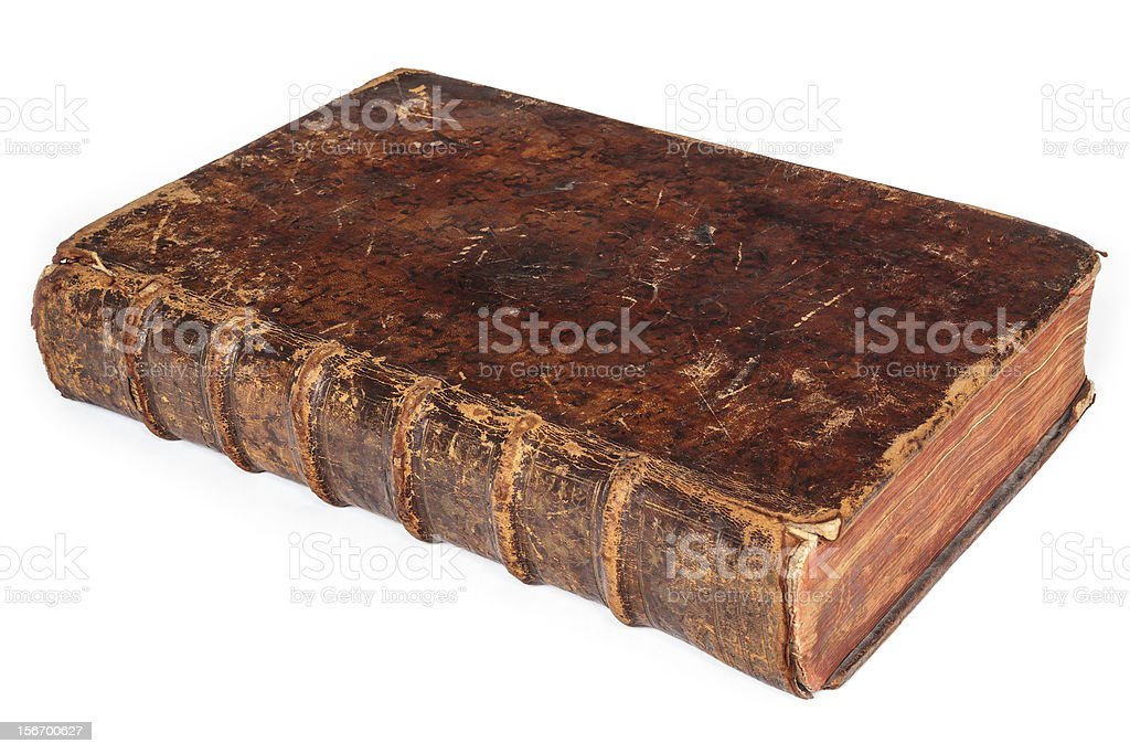 Seventeenth century antique book isolated on white royalty-free stock photo