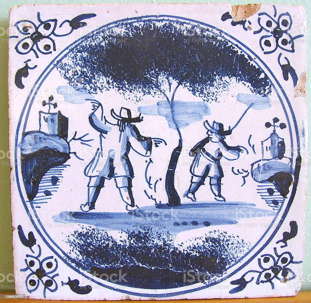 Seventeenth-Century Blue and White Delft Tile royalty-free stock photo