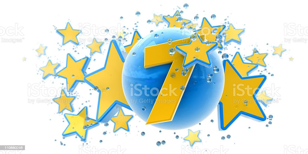 Seventh anniversary blue and yellow royalty-free stock photo