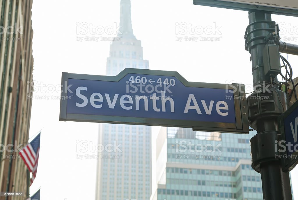 Seventh avenue sign stock photo