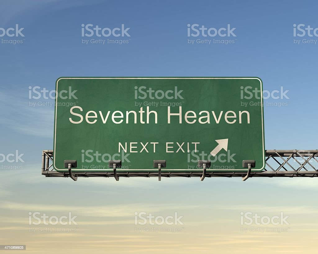 7 つ目の楽園への道路標識 ロイヤリティフリーストックフォト