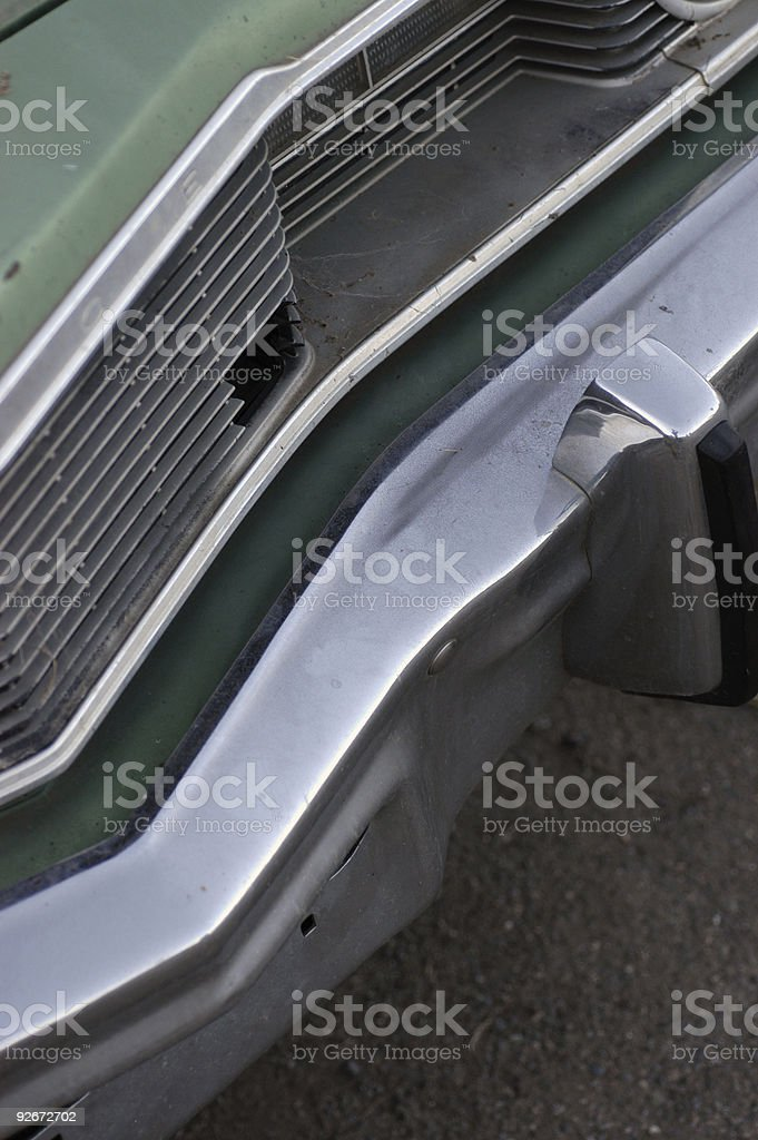 Seventies car grille and front bumper royalty-free stock photo