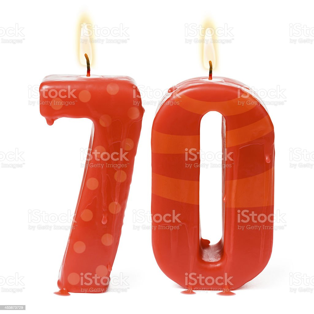 Seventieth 70th birthday or anniversary candles stock photo