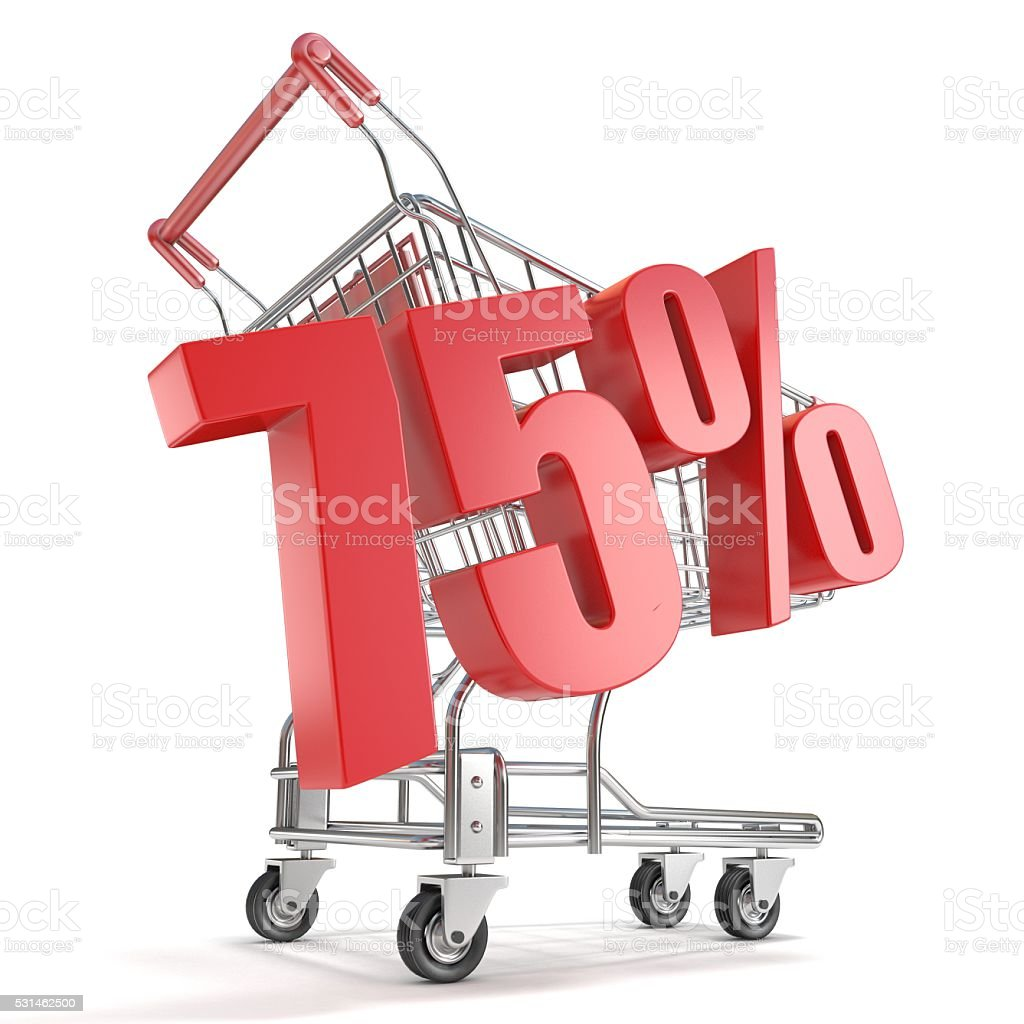 75% - seventy five percent discount and shopping cart stock photo