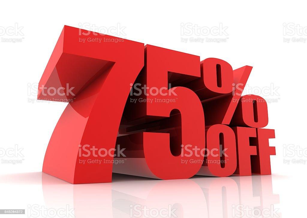 seventy five percent discount stock photo