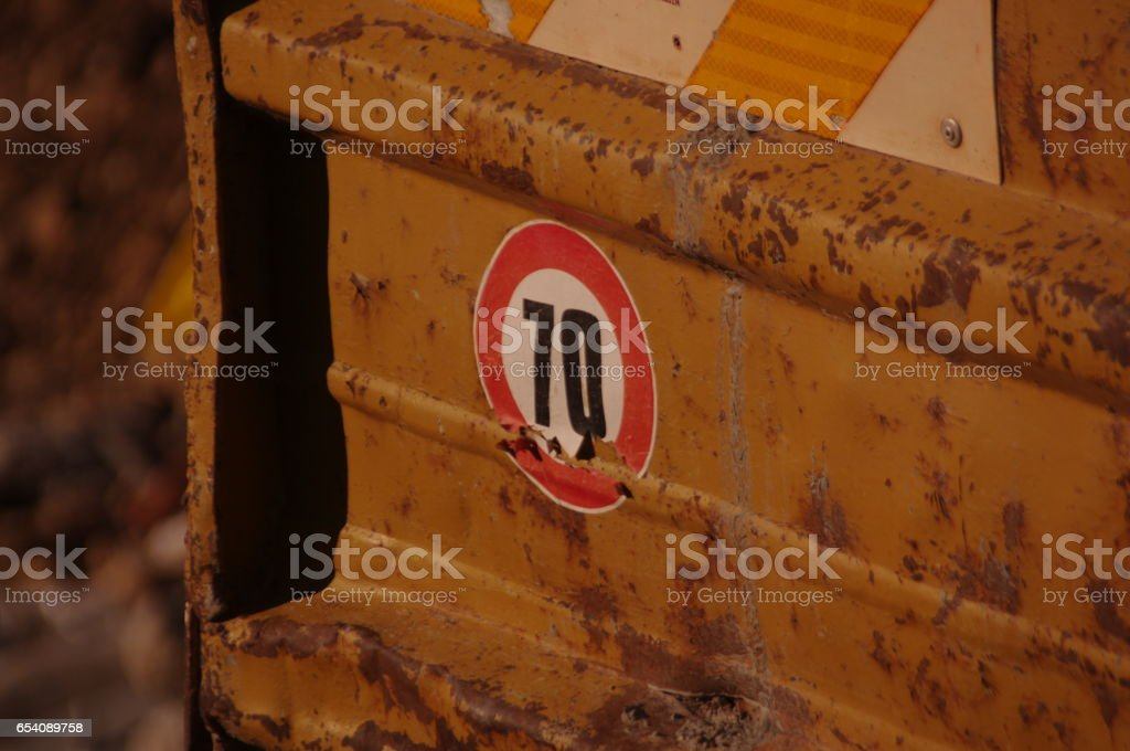 Seventy Speed Limit Sticker on an Abandoned Trailer stock photo