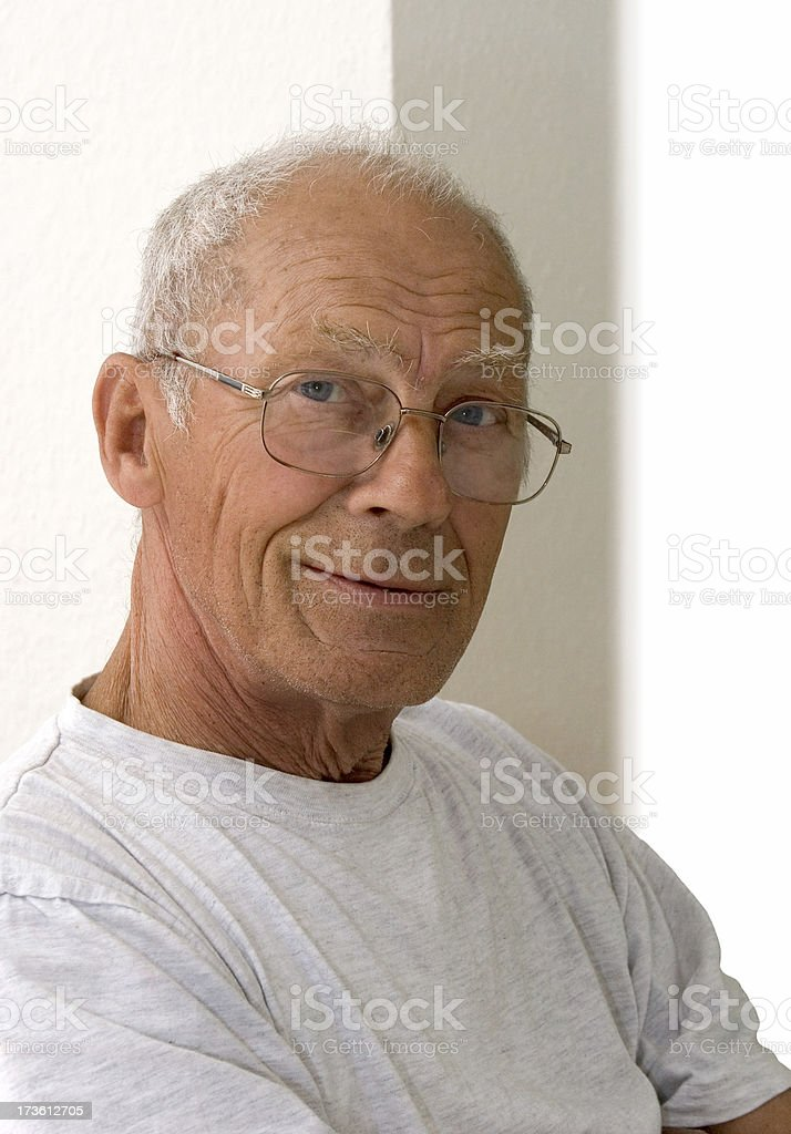 Seventy  year old man smiling stock photo