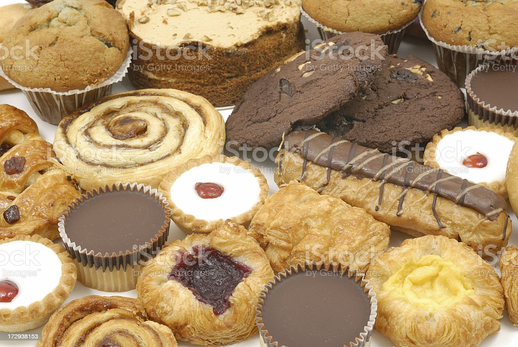 Several assorted pastries together stock photo