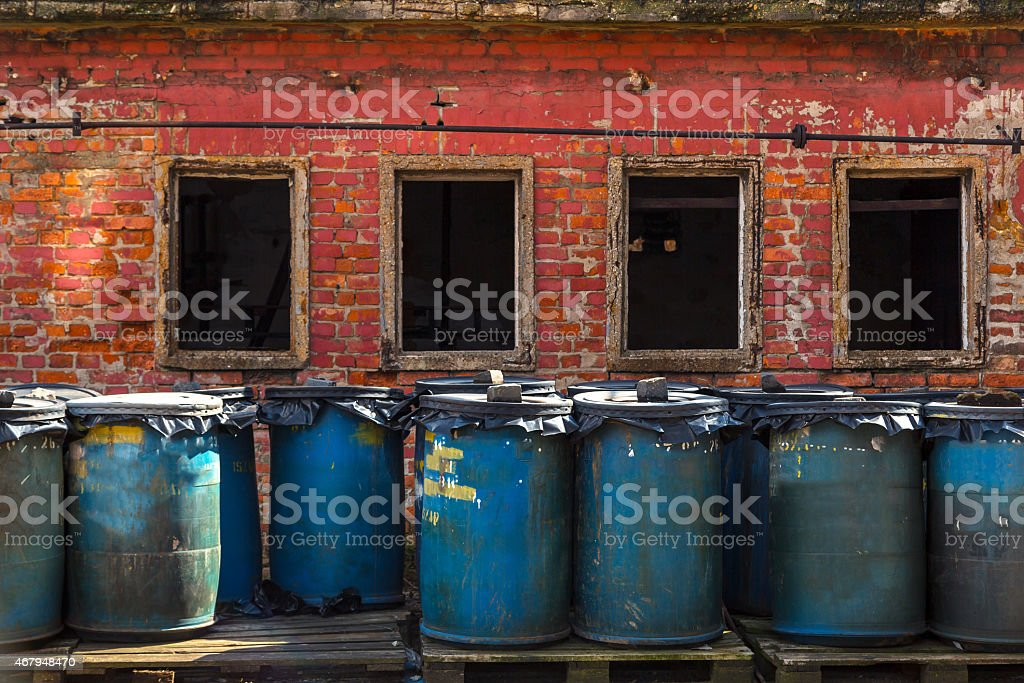 Several barrels of toxic stock photo