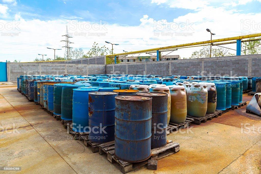 Several barrels of toxic stock photo