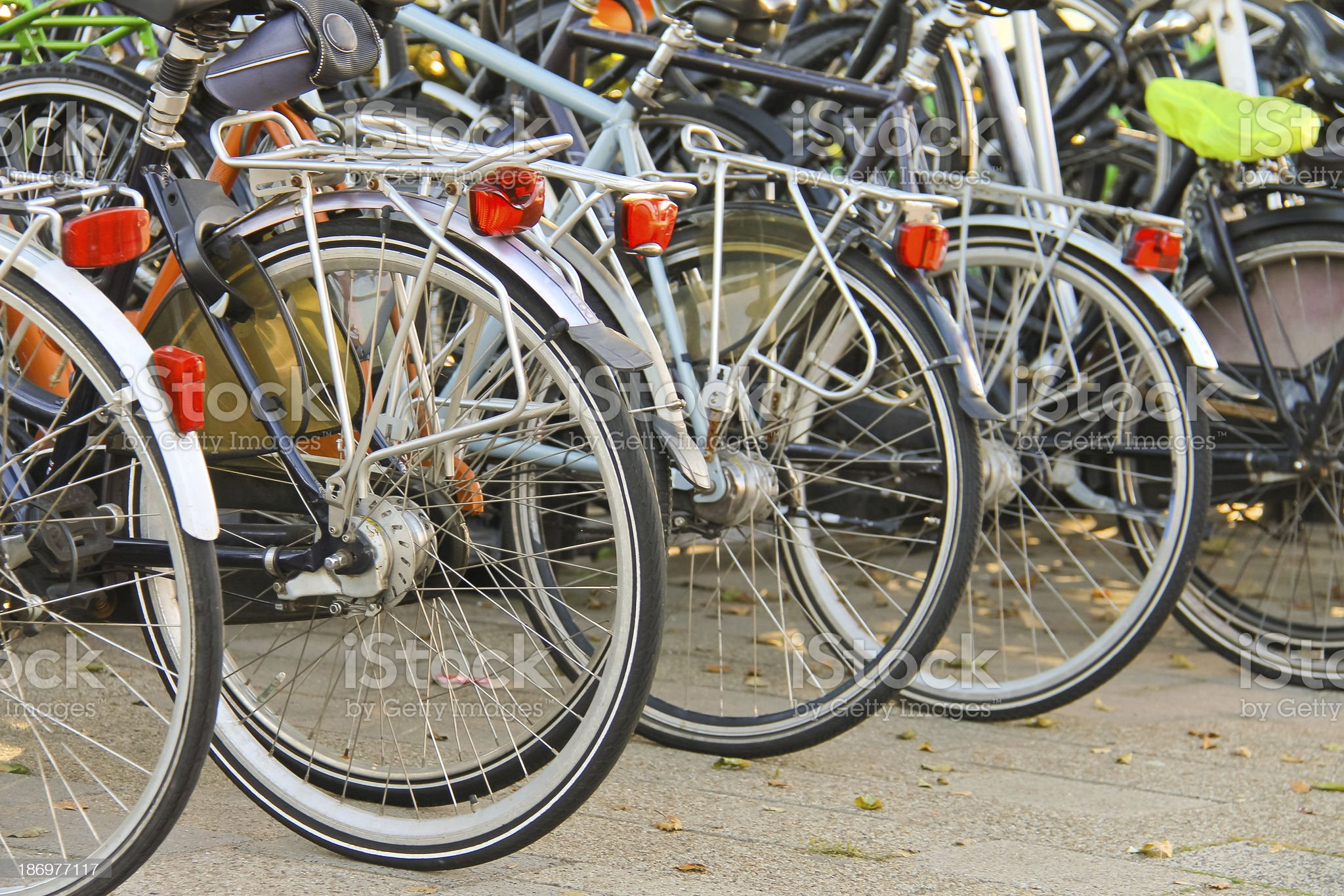 Several bikes in the parking lot. Netherlands royalty-free stock photo